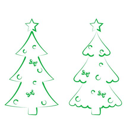Illustration Christmas set trees with decoration, stylized hand drawn - vector illustration