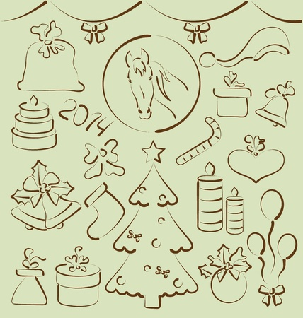 Illustration Christmas set elements stylized hand drawn - vector illustration