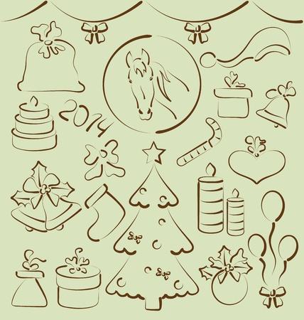 Ilustraci�n de Navidad de elementos de mano estilizada dibujado - vector photo