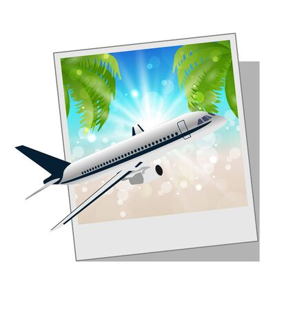 Illustration photo frame with seaside and plane - vector illustration