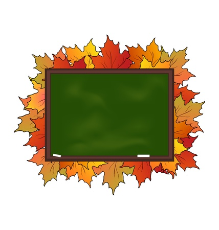 Illustration school board with maple leaves isolated - vector illustration