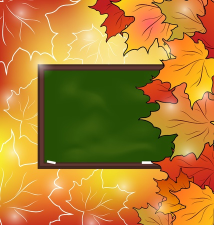 Illustration school board with maple leaves, autumn background - vector illustration