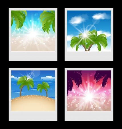 oceanside: Illustration set photo frames with beaches - vector Stock Photo