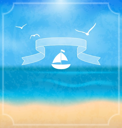 oceanside: Illustration holiday card with beach for your summer design - vector Stock Photo