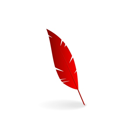 Illustration red feather isolated on white background - vector Stock Illustration - 22096280