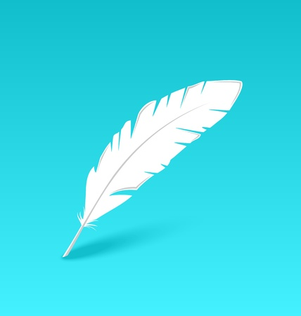 Illustration white feather isolated on blue background - vector Stock Illustration - 22096281