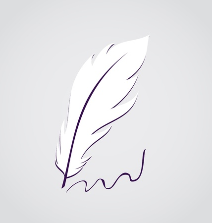 Illustration white feather calligraphic pen isolated - vector Stock Illustration - 22096284