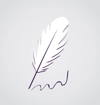Illustration white feather calligraphic pen isolated - vector Stock Illustration - 22096285