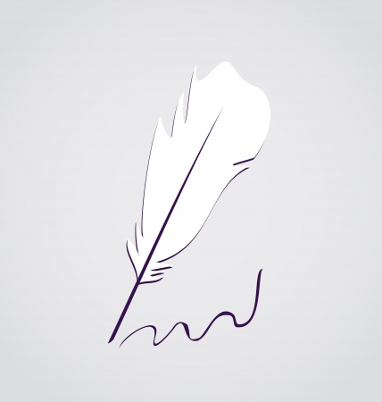 Illustration white feather calligraphic pen isolated - vector Stock Illustration - 22096286