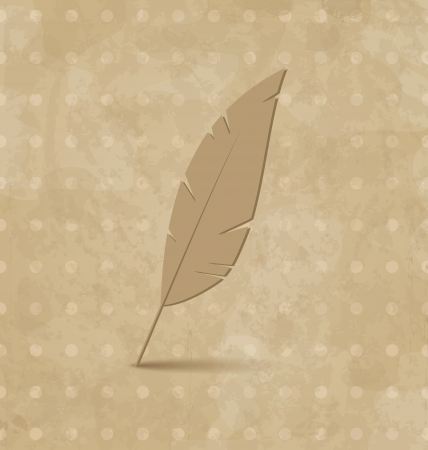 Illustration vintage feather on grunge background - vector Stock Illustration - 22096288