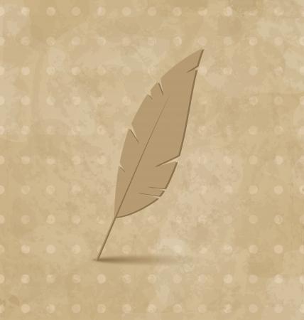 Illustration vintage feather on grunge background - vector Stock Illustration - 22096288