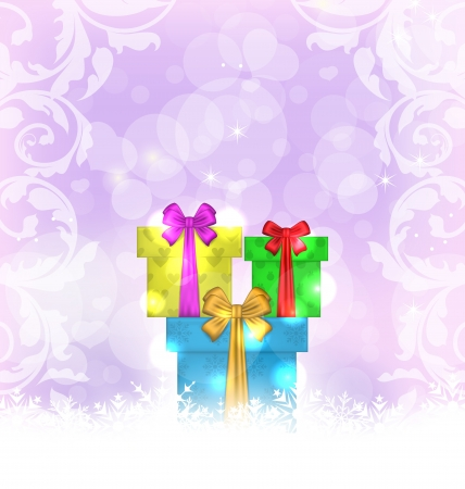 Illustration set Christmas gift boxes on light background - vector Stock Illustration - 22096292