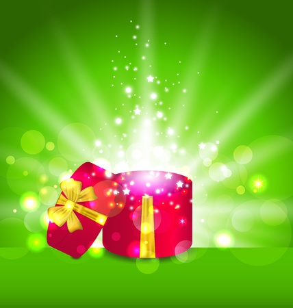Illustration Christmas background with open round gift box - vector Stock Illustration - 22096293