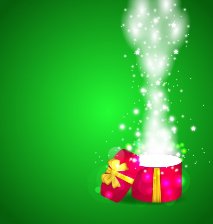 Illustration Christmas open magic gift box with copy space - vector Stock Illustration - 22096295
