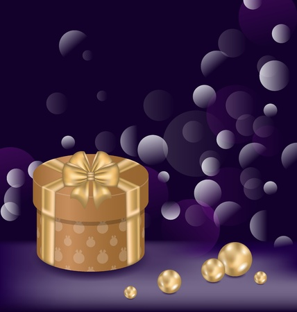 Illustration Christmas background with gift box and pearls - vector  Stock Illustration - 22096297