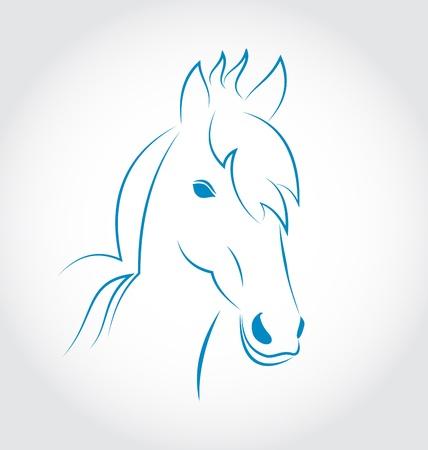 Illustration symbol outline head horse isolated on white background - vector Stock Illustration - 22096301