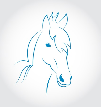 paddock: Illustration symbol outline head horse isolated on white background - vector Stock Photo