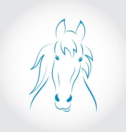 Illustration symbol outline head horse isolated on white background - vector Stock Illustration - 22096308
