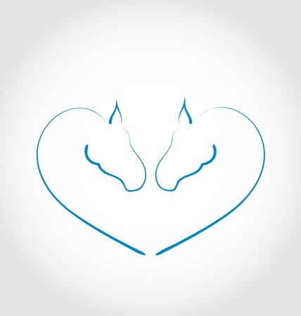 paddock: Illustration two horses stylized heart shape - vector