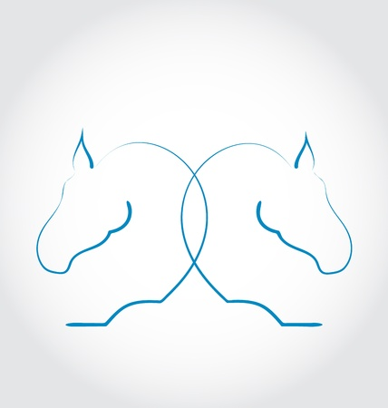 horsehair: Illustration sign of two horses stylized hand drawn - vector