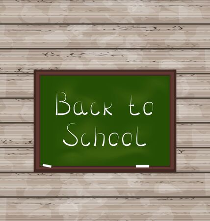 Illustration school green board on wooden texture - vector Stock Illustration - 22096342