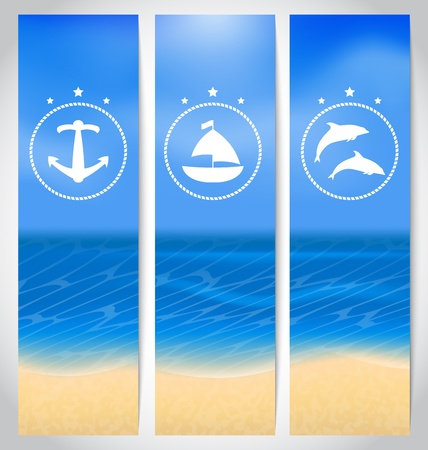 Illustration set labels with beach, summer cards - vector Stock Illustration - 22096343