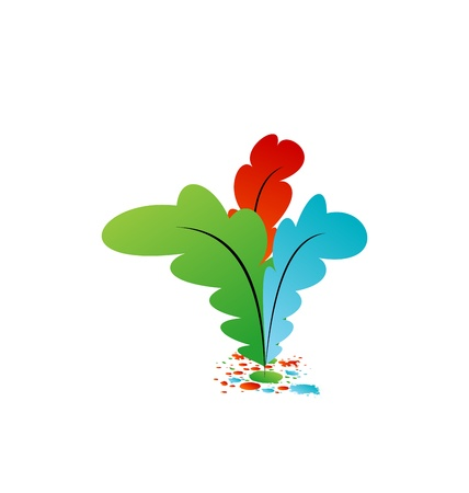 Illustration set colorful artistic feathers with ink - vector Stock Illustration - 22096347