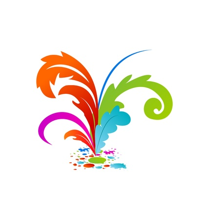 Illustration group colorful artistic feathers with ink - vector Stock Illustration - 22096348