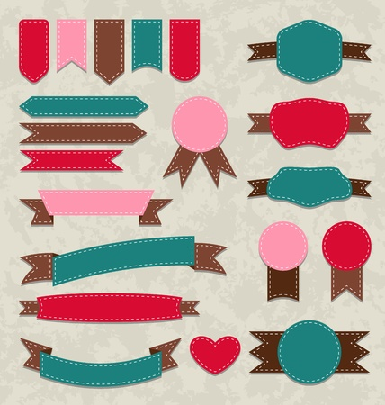 Illustration set retro ribbons, vintage labels, emblems - vector Stock Illustration - 22096355