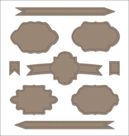 Illustration set leather ribbons, vintage labels, geometric emblems - vector Stock Illustration - 22096359