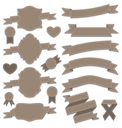Illustration group leather ribbons, vintage labels, geometric emblems - vector Stock Illustration - 22096363