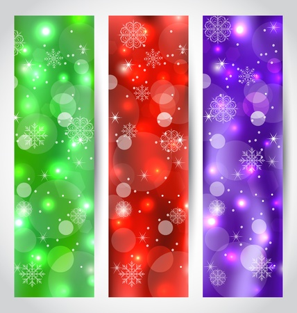 Illustration set Christmas glossy banners with snowflakes - vector Stock Illustration - 22096366