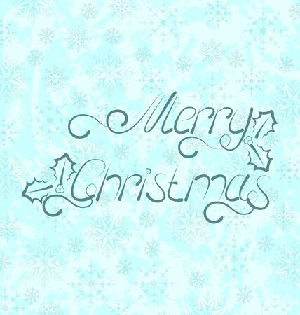 Illustration calligraphic Christmas lettering, snowflakes texture - vector Stock Illustration - 22096368