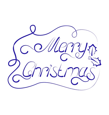 Illustration cute Christmas lettering, handmade calligraphy - vector Stock Illustration - 22096370