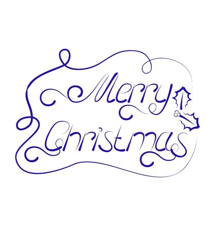 Illustration cute Christmas lettering, handmade calligraphy - vector Stock Illustration - 22096370
