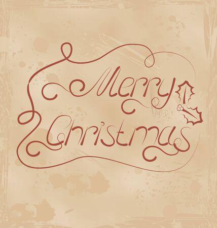 Illustration calligraphic Christmas lettering, grunge texture - vector Stock Illustration - 22096371