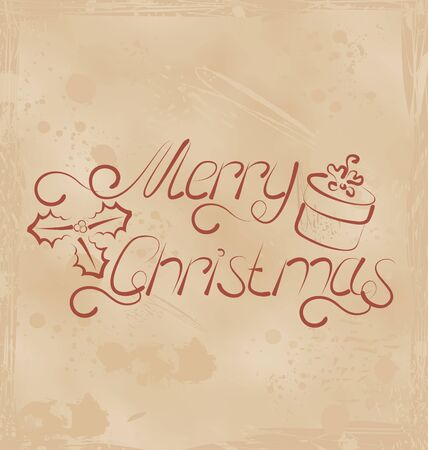 Illustration calligraphic Christmas lettering, grunge background - vector Stock Illustration - 22096372