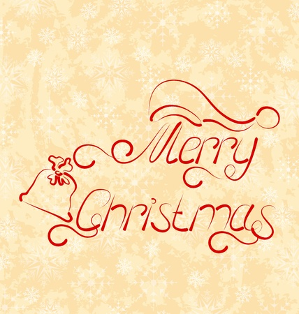 Illustration calligraphic Christmas lettering, grunge background - vector illustration