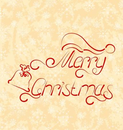 Illustration calligraphic Christmas lettering, grunge background - vector Stock Illustration - 22096373