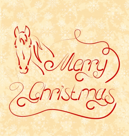 Illustration calligraphic Christmas lettering with horse - vector Stock Illustration - 22096375