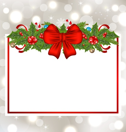Illustration Christmas elegant card with holiday decoration - vector Stock Illustration - 22096377