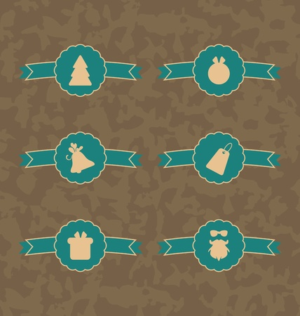 Illustration set Christmas decoration vintage labels, all for design - vector illustration