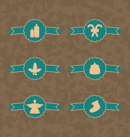 Illustration set Christmas decoration vintage emblems, all for design - vector Stock Illustration - 22096379