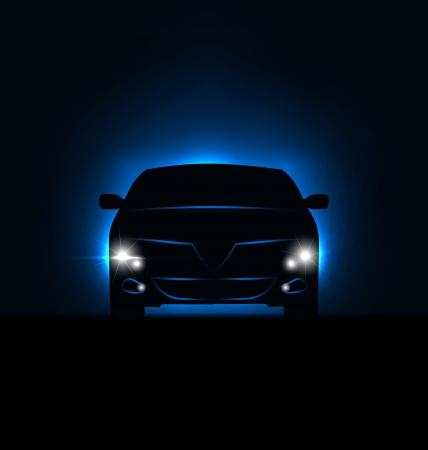 Silueta de la ilustración del coche con las luces en la oscuridad - vector Ilustración de vector