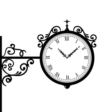 forging: Illustration forging retro clock with vignette arrows - vector