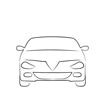 Illustration abstract car isolated on white background, front side - vector