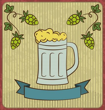 Illustration vintage card with glass mug beer - vector Vector