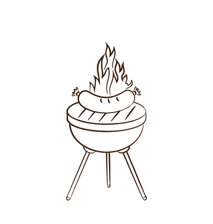 Illustration barbecue with sausage and flame - vector Vector