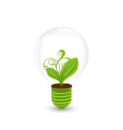germinating: Illustration bulb with plant inside isolated on white background - vector Illustration