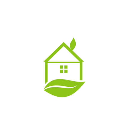 Illustration icon green house with leaf isolated on white background - vector Vector